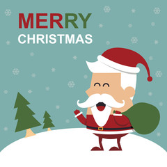 Merry Christmas greeting card with cute Santa.