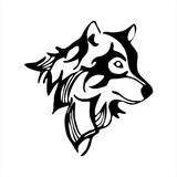 wolf head tattoo vector isolate