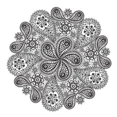 Ornamental winter hand-drawn lace snowflake.