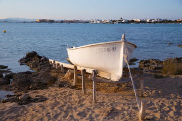Beached boat in Estany des Peix at Formentera Balearic Island