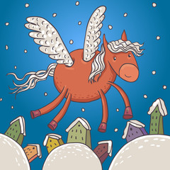 Horse with wings, vector illustration