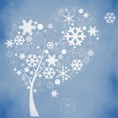 abstract winter tree with snowflakes and gifts on red background