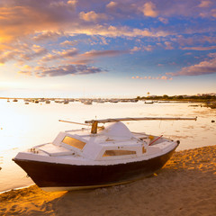 Boat sunset  Estany des Peix in Formentera Balearic Island