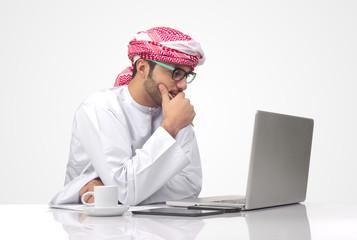 Arabian businessman working isolated on white