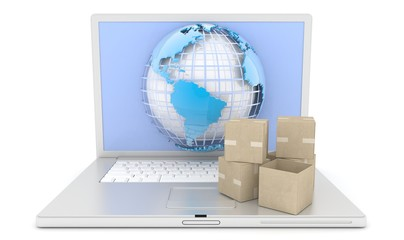 E-commerce. cardboard boxes on a laptop