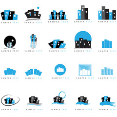 Building Icons Set - Isolated On White Background