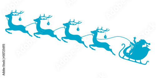 Christmas Sleigh Santa & 4 Flying Reindeers Blue