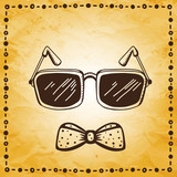 Vintage background with glasses and bow tie