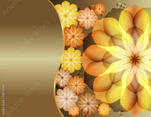 Beautiful flowers greeting with gold  flowers