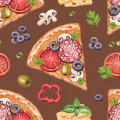 Pattern with watercolor pizza illustrations and ingredients