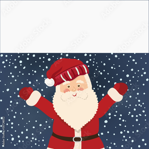 Santa Claus and white banner, vector