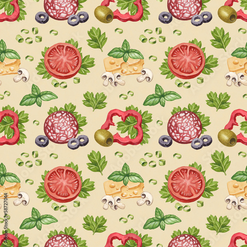 Watercolor pattern with illustration of food ingredients