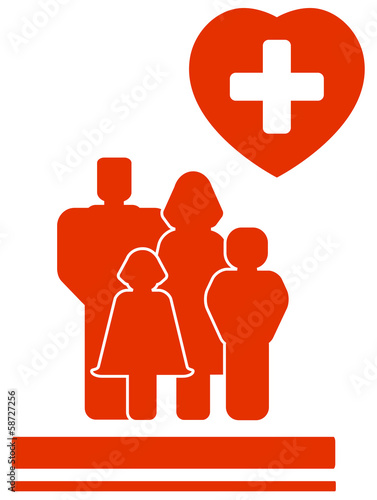 yellow family medical cardiogram symbol