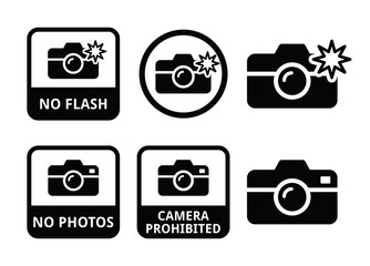 No photos, no cameras, no flash icons