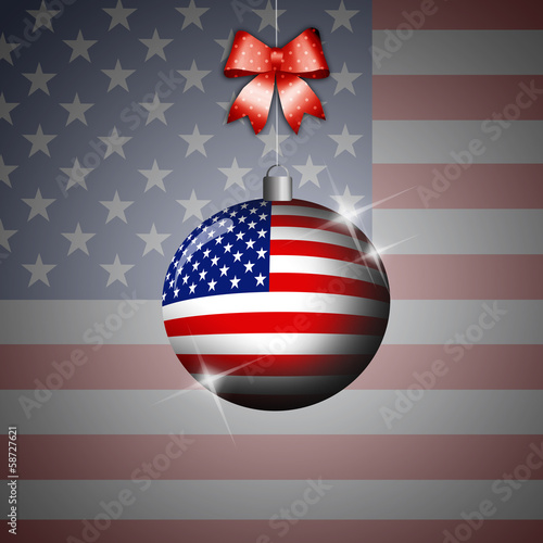 Christmas ball with flag of USA