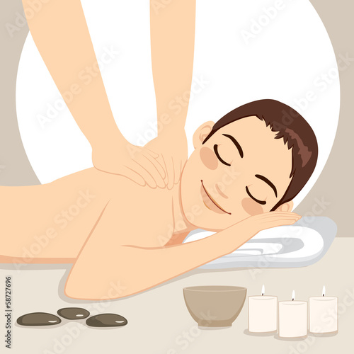 Man Relaxing Massage Spa