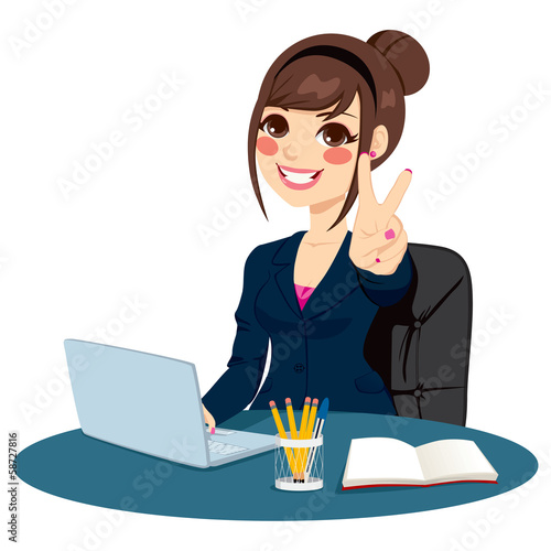 Victory Sign Businesswoman