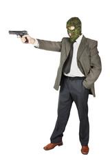 Killer shooting with his gun