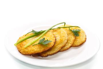 fried potato pancakes on a plate