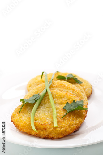 fried potato pancakes on a plate