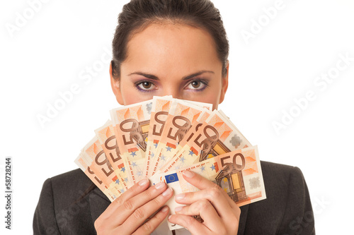 Businesswoman holding euro banknotes hiding herself on white bac