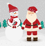 Santa Claus and snowman in vector