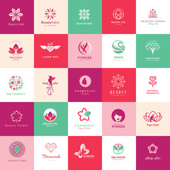 Set of icons for beauty, cosmetics, spa and wellness