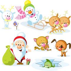 Santa Claus with snowman, cute Christmas animals