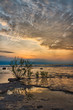 Sunrise from coast of Kelleys Island in Lake Erie.