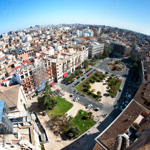 View of the roofs of from top of the Cathedral. Valencia, Spain.