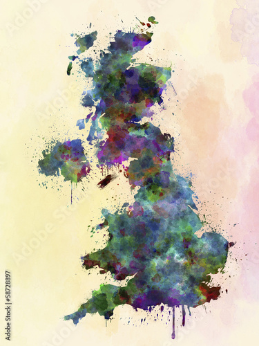 United Kingdom map watercolor style splash