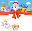 Christmas design with Santa Claus, gifts, xmas tree