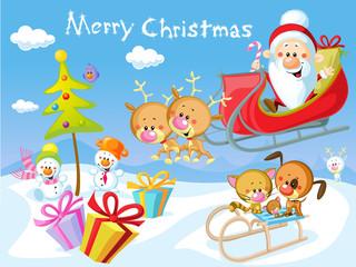Merry Christmas design with Santa Claus Sleigh, Christmas Tree