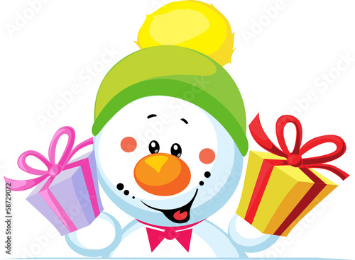 snowman holding gift peep out through the blank background