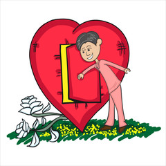 Man Opening Heart Door