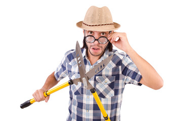 Funny guy with garden shears on white