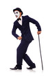 Personification of Charlie Chaplin on white