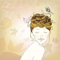 Autumn Girl's Nest Hair Illustration