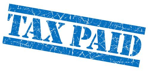 Tax paid blue grunge stamp