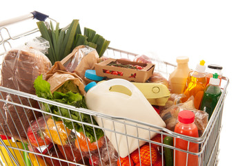 Shopping cart full dairy grocery