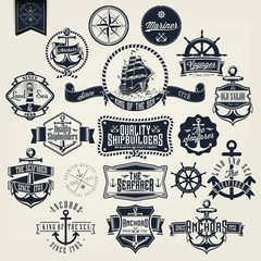 Set Of Vintage Retro Nautical Badger And Labels