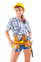 beautiful female worker on a white background