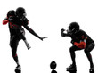 two american football players touchdown celebration silhouette
