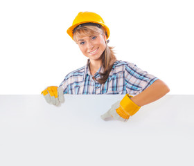 construction female worker with white plackard
