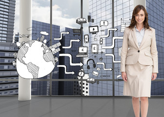 Composite image of smiling businesswoman walking
