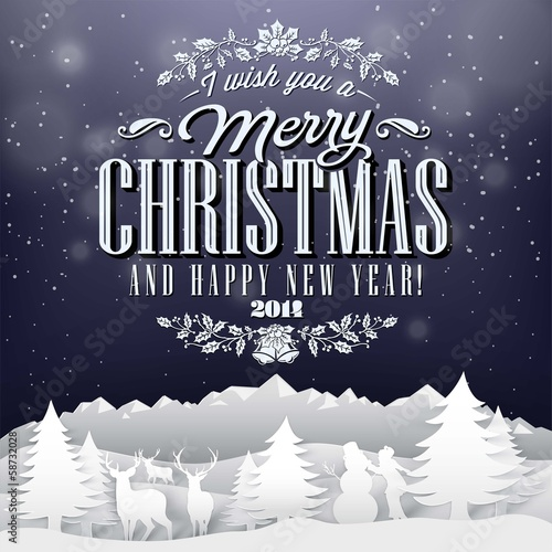 Vintage Paper Christmas Elements Background With Typography