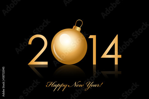 Vector 2014 Happy New Year background with gold christmas bauble
