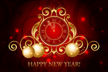 Vector ornate red and gold New Year background