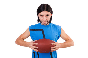 Young american football player on white
