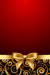 Vector red and luxury frame with gold ribbon